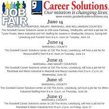 Job Fairs June 14 17 in lewisburgtn