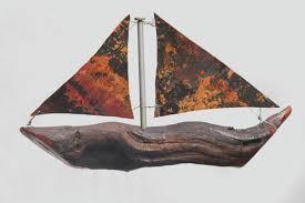 Sailing Seas Copper Sailboat Rustic Spoon Fish Wind Chime Patina Christmas Yard Art Metal And Wood Gift For Sailors Navy Ships