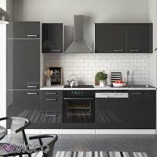 vicco küche optima küchenzeile küchenblock einbauküche 270cm anthrazit hochglanz ebay