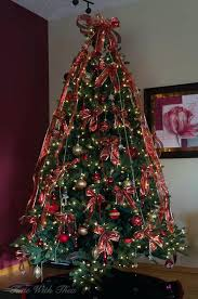 Christmas Tree Garland Gorgeous Artificial Decorated With Red And Gold Ornaments Ribbon Bead