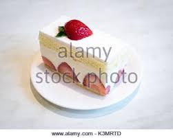A slice of delicious strawberry shortcake a popular dessert Stock