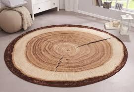 design velours teppich baumstamm rund 101175 teppich
