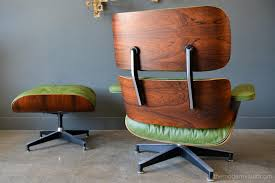 Avocado Green Leather Eames Lounge Chair And Ottoman, 1967 ...
