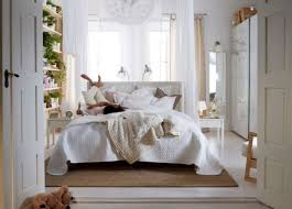 Drop Dead Gorgeous White Bedroom Decoration Using Ikea Furniture Along Wooden King Bed Frame And Wood Double Doors