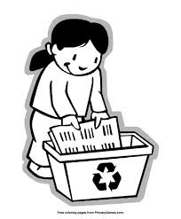 Earth Day Coloring Pages At Primary Games A Girl Recycling