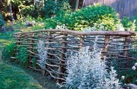 Rustic Wood Fence Made Of Tree Branches Possibility For Butterfly Garden
