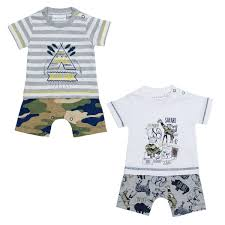 Baby Boys Safari Print Romper Suit Cotton Rich Summer Jungle