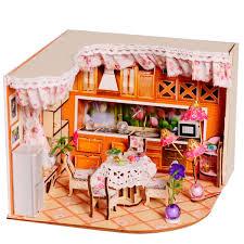 Hoomeda DIY Wooden Dollhouse Miniatura Sala De Jantar Modelo Kit Com