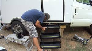 Box Truck Camper Installing Electric RV Steps 60 - YouTube