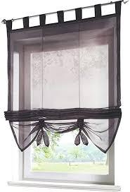 eslir raffrollo mit schlaufen gardinen küche raffgardinen transparent schlaufenrollo vorhänge modern voile grau bxh 100x155cm 1 stück