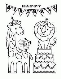 Happy Birthday And Funny Animals Coloring Page For Kids Holiday Pages Printables Printable Pics Of Adult