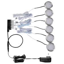 le 6 pack led cabinet lighting kit 1020lm puck lights 5000k