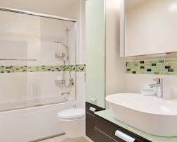 subway tile shower with accent houzz