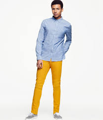 h u0026m trousers in yellow for men lyst