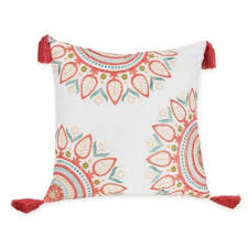 Bed Bathandbeyondcom by Jessica Simpson Sabine Square Throw Pillow In Coral White