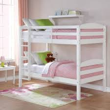 white twin over twin double deck bed wood bunk bed with ladder