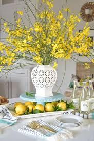 The Chic Technique White Vase Spring Summer Dishes Aqua Cake Stand Forsythia Yellow Flower Bush Brunch Lemons Table Scape Center
