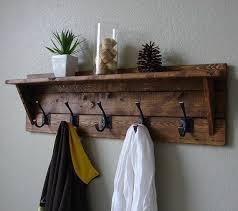 Wall Hanging Coat Rack Shelf Mounted Rail Classic American Rustic 5