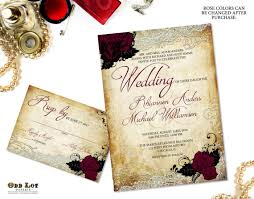 Rose Wedding Invitations Set Vintage Background With Lace And