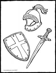 Helmet Shield And Sword Colouring Page 01V