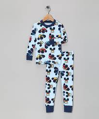 100 Monster Truck Pajamas Light Blue Organic Pajama Set Toddler Boys Zulily
