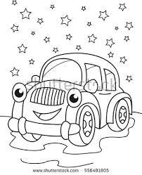 Cartoon Contour Illustration Of A Smiling Car Coloring Book