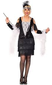Womens Black And White Lace 1920s Flapper Costume Front
