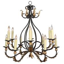 Wrought Iron Nine Light Iron Chandelier with Gold Leaf Acanthus