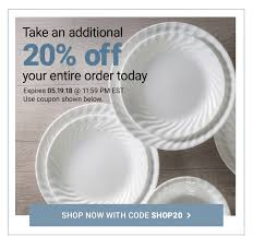Corelle: Get Your Code For 20% OFF The Entire Site! | Milled E2save Coupons Carol School Supply Printable Krazy Coupon Lady Loccitane Boston Hotel Discount Codes Hilton Corelle Outlet Store Promo Code Animoto Corningware Corelle Black Friday Sale Childrems Place Hop On Hop Off New York Shop Ccs Gordon The Hobbit Shop Deals Ac In Delhi Best Sale Bespoke Verse Download To My Phone Flash Sale 20 Your Total Frys Discount Bakery Denton Kids Set Bath And Body Works