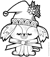 Christmas Dog Color Page Coloring Pages Holiday