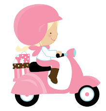 Girl Riding A Pink Scooter PNG Clipart