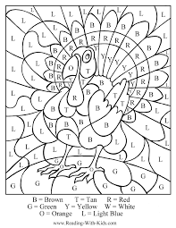 Thanksgiving Color By Number Coloring Pages Turkey Letterjpg
