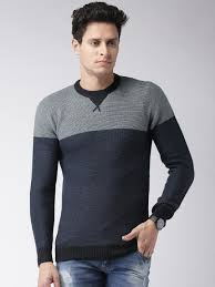 buy alcott men grey u0026 black sweater sweaters for men myntra