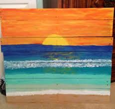 Creations Ventura Palette Knife Oil Gessobord Sunset Pallet Painting Beach On