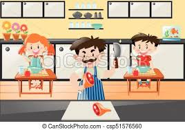 Chef Cooking For Two Kids In Kitchen Vector