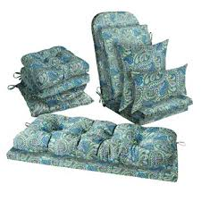 Verareg Blue Paisley Indoor Outdoor Seat Cushions Collection