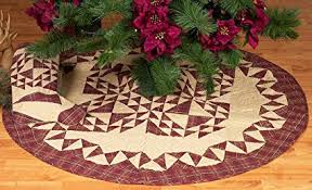 Colonial Patches Burgundy Quilted Christmas Tree Skirt 48 Inches Round 100 Cotton Handmade Hand