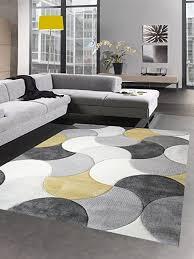 carpetia designer teppich wohnzimmerteppich kurzflor tropfen senfgelb gelb grau creme größe 80 x 300 cm