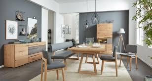 esszimmermöbel aus holz mit grauem polster interliving