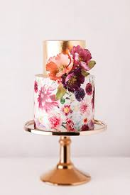 Gold And Rustic Floral Wedding Cake