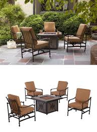 Threshold Heatherstone Wicker Patio Furniture by Hampton Bay Niles Park 5 Piece Gas Fire Pit Patio Seating Set With
