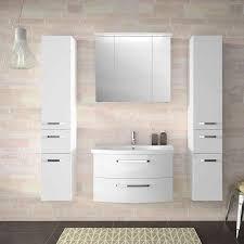 lomado badezimmer set in hochglanz weiß fes 4010 60 mit 80cm keramik waschtisch spiegelschrank inkl led 2 hochschränke