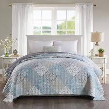 patchwork tagesdecke für schlafzimmer 220 x 240 cm blau
