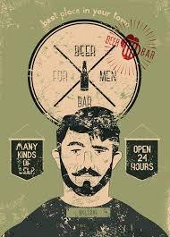 Download Beer Bar For Men Vintage Grunge Style Poster Vector Illustration