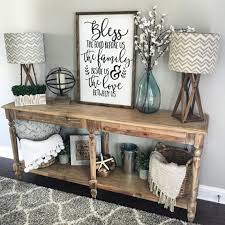 Living Room Console Table Decorating Ideas Lamps Rustic Idea For