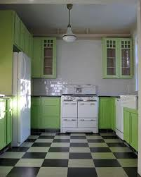 Floor Decoration With Black And White Checker Board Pattern Light Green Kitchen Cabinets