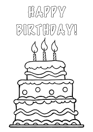 black and white birthday cake with candles clip art print