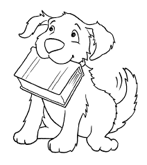 Dog Biting A Book Coloring Page
