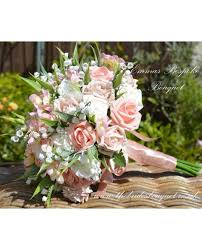 HEAVENLY Flower Girl Posy in Nude Shades with Pearl loops and