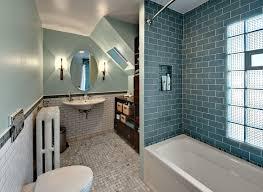 bathroom ideas blue subway tile bathroom with built in bathtub